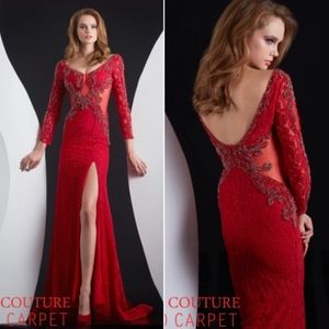 SALE! Jasz Couture Prom Gown Long Red Embellished